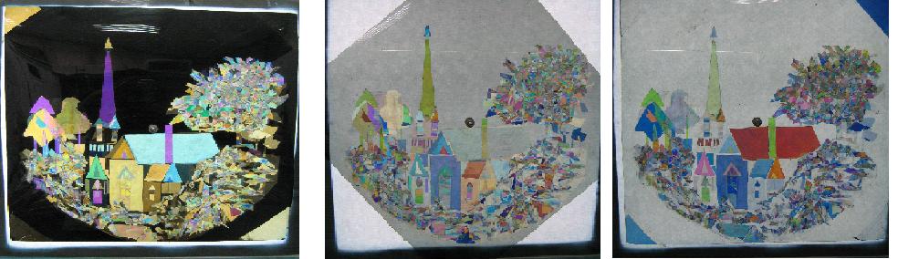 圖一:三個不同偏振片旋轉角度的自製膠帶貼畫。