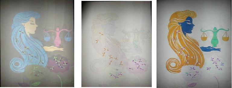 圖二:三個不同偏振片旋轉角度的科博館所展示之膠帶貼畫。